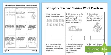 Year 2 Multiplication And Division Word Problems X2 X5 X10