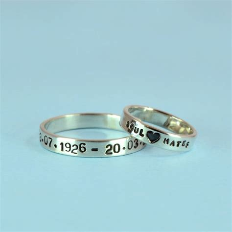 personalised silver text ring by bug notonthehighstreet com