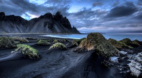 iceland vestrahorn stockksness mountain black sand sea