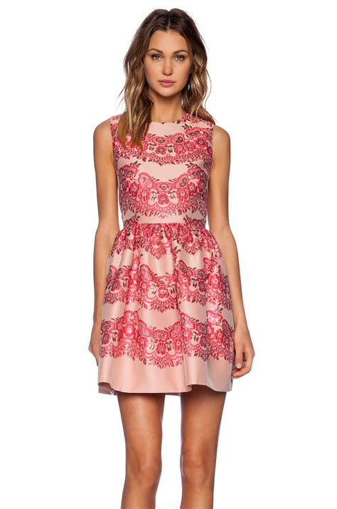 Brocade Dress Wd T1310 1 valentino lace brocade fit and flare dress in ribes revolve