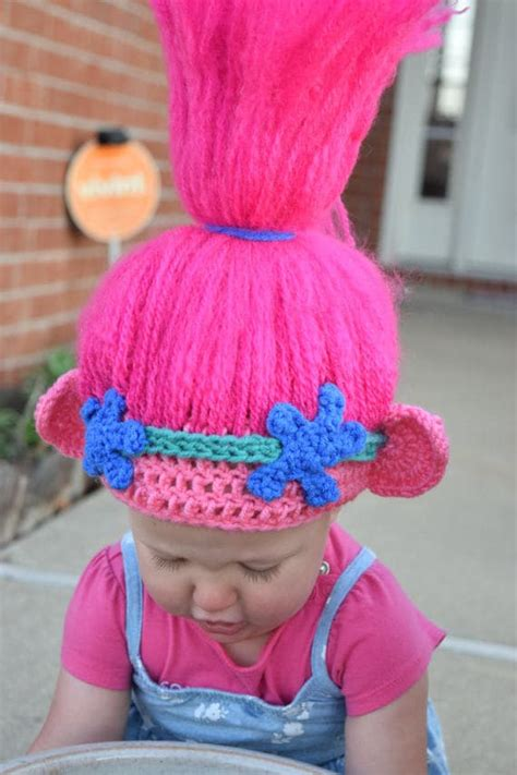 crochet pattern poppy hat just crafting around these etsy stores are making troll hair hats and they re
