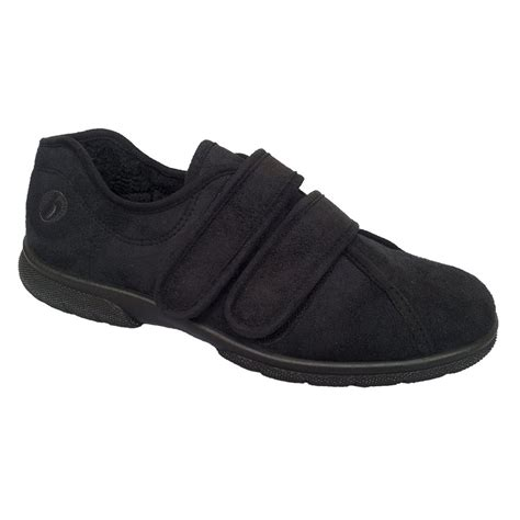 house shoes easy b mens joseph black velcro wide fitting house shoes