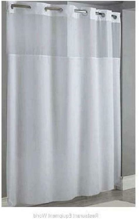 Hookless White Fabric Shower Curtain Liner Mystery D