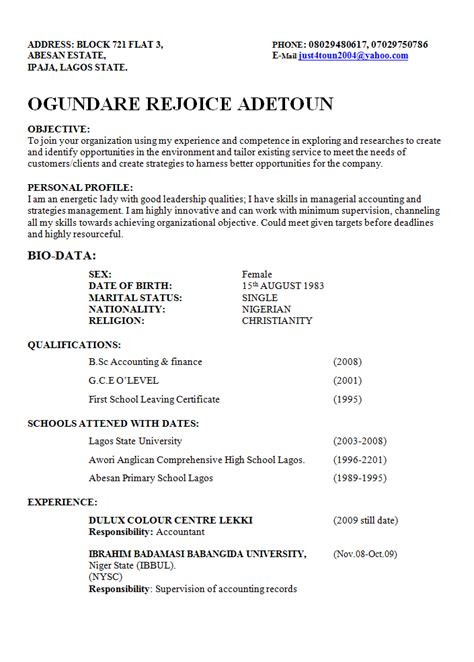 format of a good cv in nigeria best way to write a curriculum vitae cv in nigeria format
