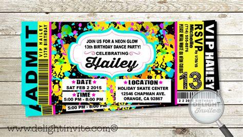 vip ticket neon glow birthday party invitation vip ticket