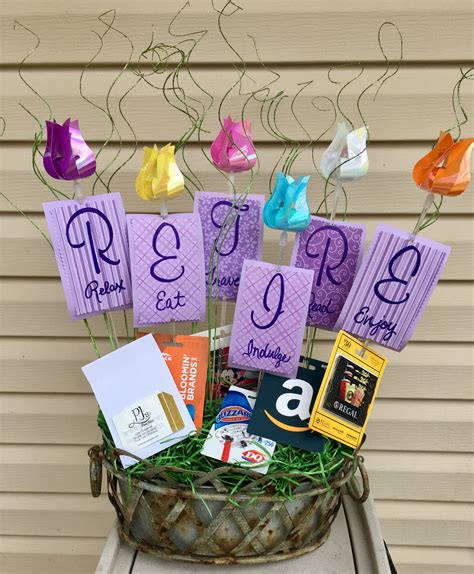 Handmade Retirement Gifts - retirement gift basket with gift cards relax eat travel