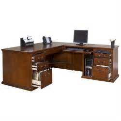 Executive Computer Desk Kathy Ireland Home L Shaped Executive Computer Desk In Burnish Ho684r Ho684r R B Kit