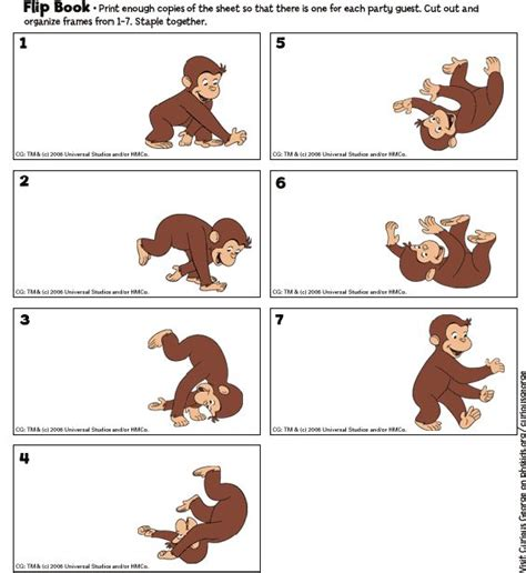 printable animal flip book make a curious george flip book curious george party