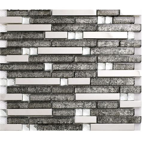 glass and stainless steel backsplash grey glass interlocking mosaic tile silver 304 stainless