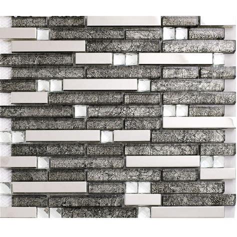 grey glass interlocking mosaic tile silver 304 stainless