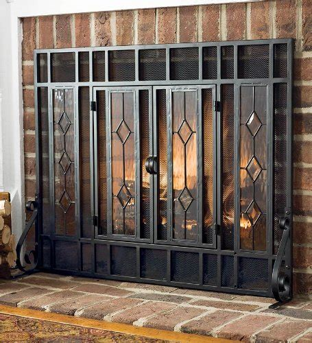best fireplace screen best sale large beveled glass fireplace screen