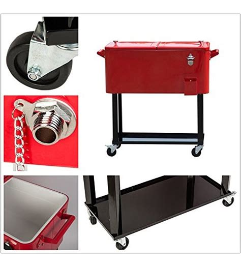 Hio 73 qt outdoor patio cooler table on wheels rolling cooler with shelf red