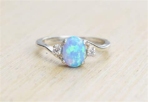 Opel Ring silver lab opal ring blue opal ring light blue opal ring