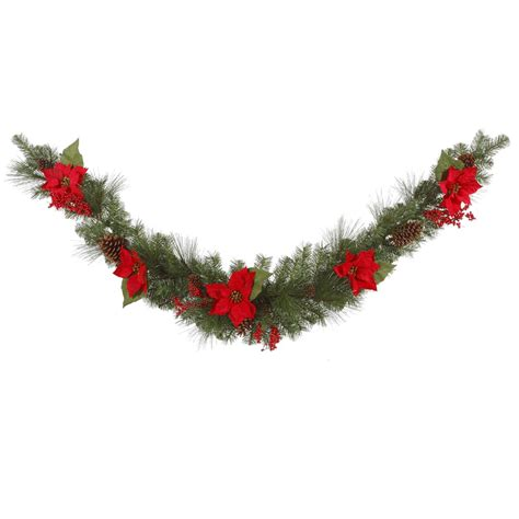 vickerman 27928 6 poinsettia mixed pine swag 35 clear