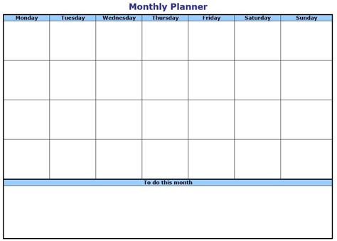 sample monthly list templates printable