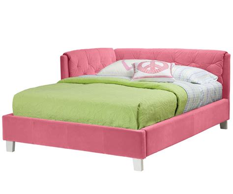 Cute Pink Corner Tufted Headboard For Double Bed With