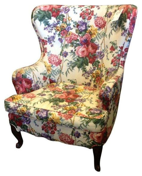 Floral Armchair by Floral Wingback Chair Transitional Armchairs And