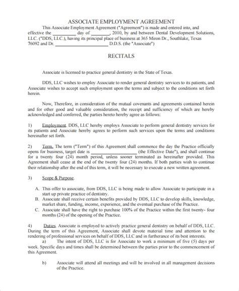 sample dentist employment agreement  documents  word