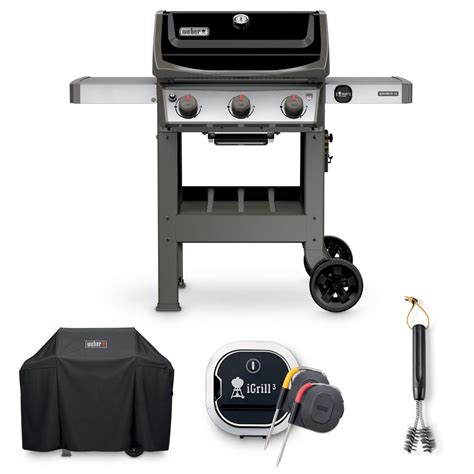 weber spirit ii e 310 liquid propane grill combo with grill brush cover and igrill 3