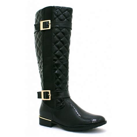 Black Quilted Boots by Black Patent Gold Buckle Quilted Boots From Parisia
