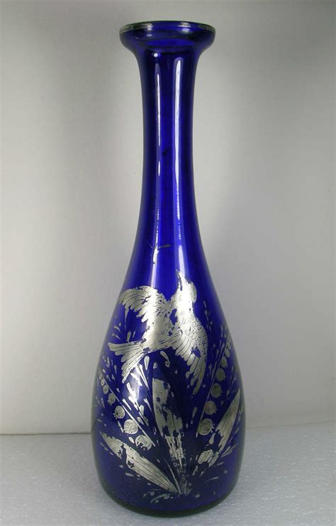 Antique Blue Vase deco antique cobalt blue sterling silver overlay