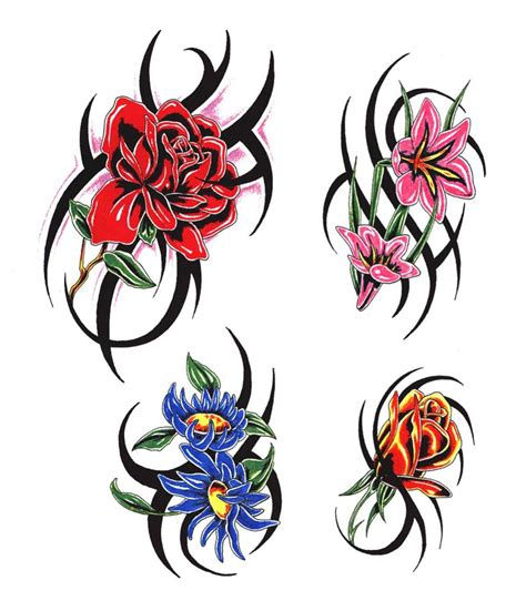tattoo tribal with flowers tribal flower clipart best