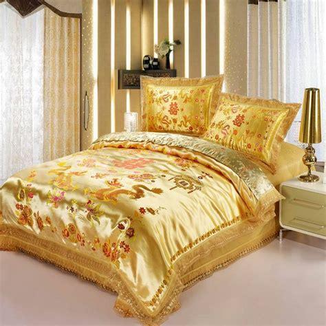 Red Satin Dragon Phoenix Chinese Wedding Bedding Set China Bedding Sets