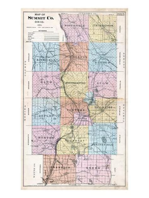 Summit County Ohio Search 1891 Summit County Map Ohio United States Giclee Print Allposters Co Uk