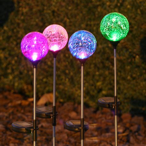 garden stake lights stake light chameleon crackled glass smart solar