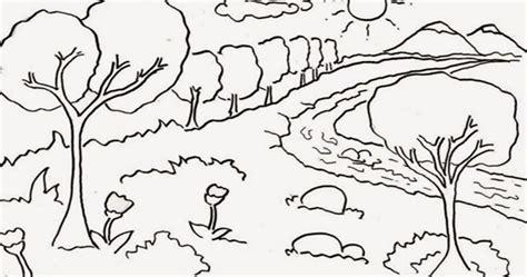 gambar mewarnai pemandangan gunung  sawah aneka
