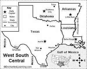 west south central states map quiz printout
