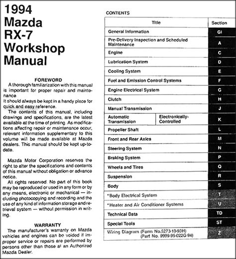 car owners manuals free downloads 1994 mazda rx 7 electronic valve timing service manual repair manual 1994 mazda rx 7 free repair manual book mazda rx 7 rx7 86 91
