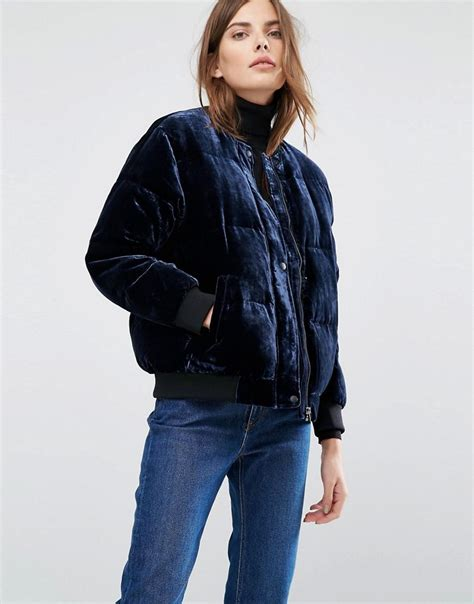 Jaspria Jas Exclusive Blue Navy lyst warehouse velvet padded jacket in blue
