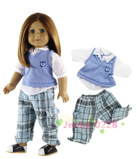 10 Fullot 2in1 Set New Putih 2in1 set doll clothes school top for 18 quot american doll in dolls accessories