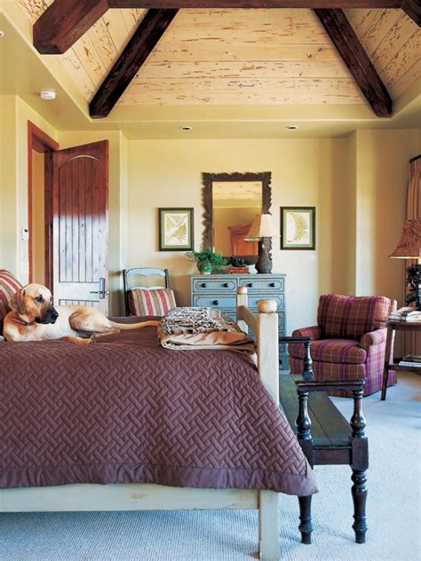 country style bedroom  pyramid style vaulted ceiling
