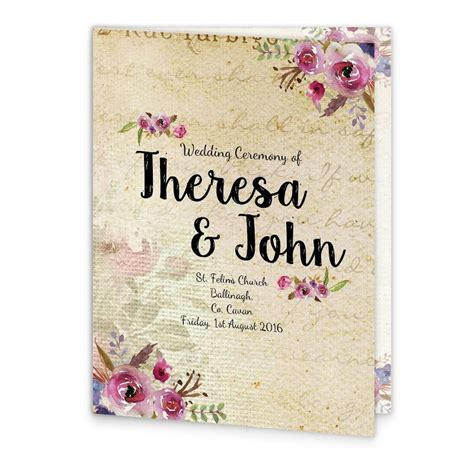 Church Wedding Book Covers by Antique Floral Mass Booklet Cover Loving Invitations