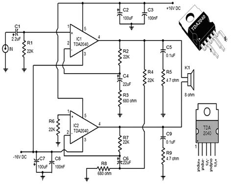 Power Lifier Kit Ic Tda tda2040 lifier schematic circuit tda2040 get free