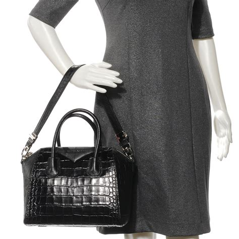 Details Givenchy Antigona Croco givenchy croc embossed small antigona black 53053