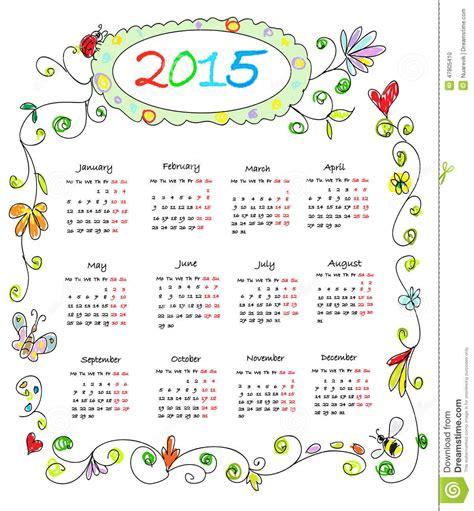 daily doodle calendar 2015 color doodles calendar 2015 stock illustration
