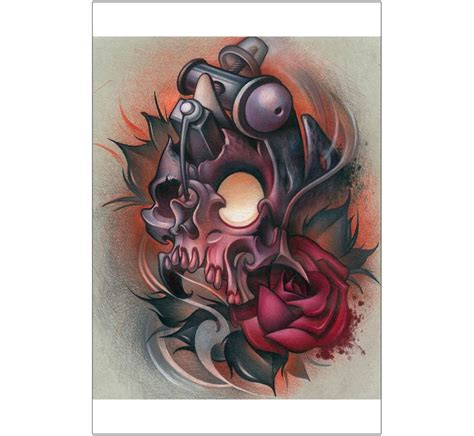 machinery tattoo design 19 best new school skull designs drawings images on