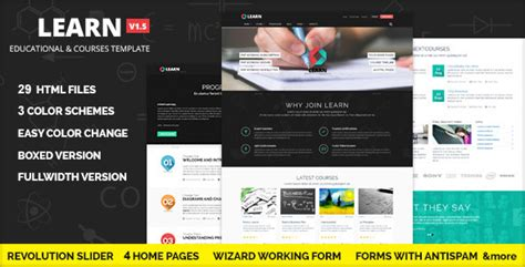free website templates for online quiz learn courses workshop educational template themeforest