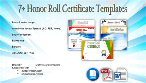 honor roll certificate template word honor roll free templates 7 2019 best designs