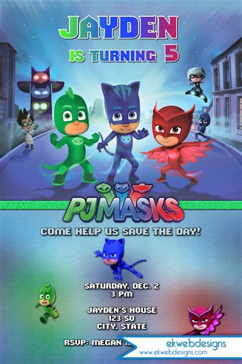 PJ Masks Birthday Invitation   Disneys Pj masks Custom Invitation