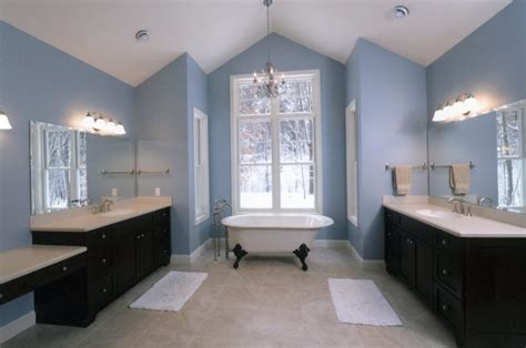 blue tub bathroom ideas white wooden cabinet embedded in the wall drawer under the rectangular mirror rattan