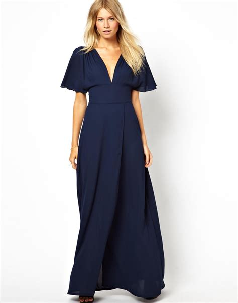 maxi navy 3 in 1 maxi dress with plunge neck and fluted sleeve in blue
