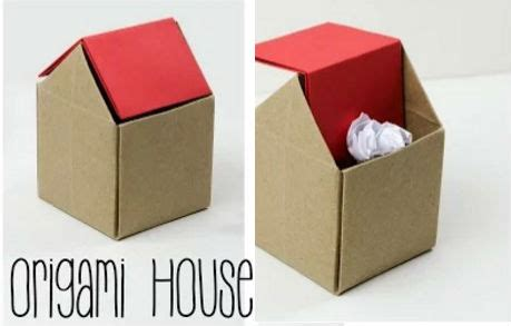 tutorial origami uccellino mini cestino a forma di casetta con la tecnica origami