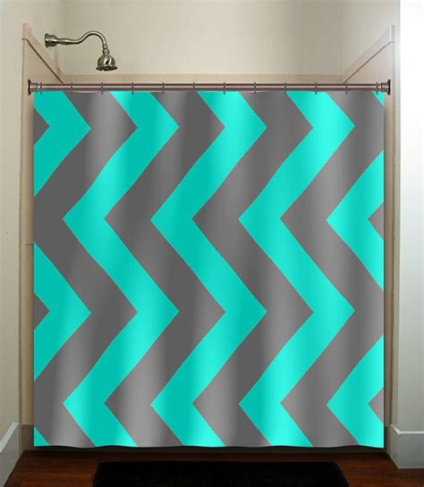 turquoise and grey shower curtain aqua blue gray vertical chevron turquoise shower curtain