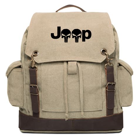 Jeep Kanvas X jeep wrangler punisher vintage canvas rucksack backpack