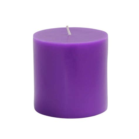 Purple Candles Zest Candle 3 In X 3 In Purple Pillar Candles Bulk 12