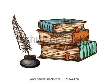 quill sketch book books stack feather quill pen stock vector 671144476